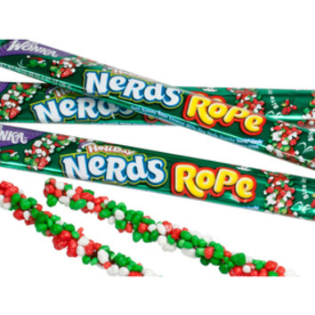 Wonka Christmas Nerds Rope Candy Packs: 24-Piece Box