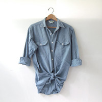 Vintage Key work shirt. Oversized button down chore shirt. Boyfriend shirt.