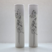 Tube vase made from English fine bone china with purple rim and a butterfly on a baroque illustration - illustrated ceramics