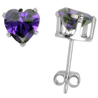Sterling Silver Cubic Zirconia Heart Amethyst Earrings Studs 6 mm Purple Color 1.5 carats/pair