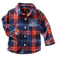 baby B'gosh Boys Red/Blue Plaid Poplin Button Down Shirt with Chambray Accent