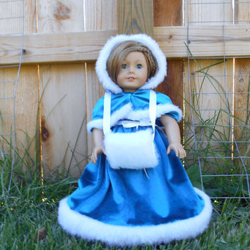 18 Inch Doll Clothes, Dress, Capelet and Muff, Faux Fur Trimmed Teal Velvet Dress with a Capelet and Faux Fur Muff