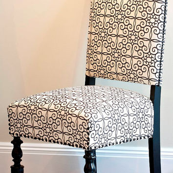 Pair of Black & White Vintage Dining Chairs with Scrollwork Fabric - Unique and Stunning Makeover - Gothic Look