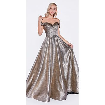 Off The Shoulder Ball Gown Bronze Sweetheart Neckline And Pockets