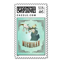 Michigan Map With Lovely Birds Postage Stamp