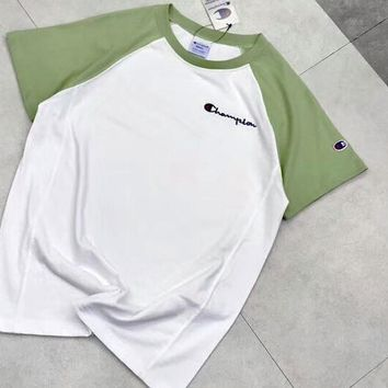 Champion Colorful Sleeve & White Fresh Color Women Men Tee Shirt Top B-AA-XDD Green