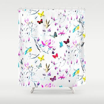 Butterflies Forest Shower Curtain by Azima