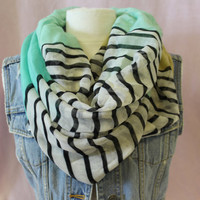 Mint green and stripes  Hipster casual infinity scarf  cotton eternity scarf for women fun casual trendy  look Catherine Cole Studio scarves