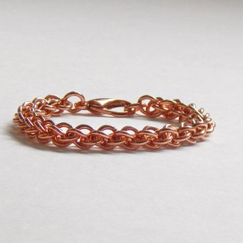 Copper Chain Bracelet / Fall Jewelry / 7th Anniversary Gift / Copper Jewelry / Chain Maille Jewelry