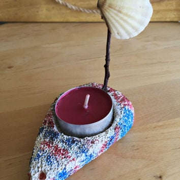 Natural Sailboat Decor/ SeaShell Decor/ Pumice Stone Decor/Sailboat Candle Holder/ Natural Gift/ Beach Gift/ Blue and Red Beach Decor/