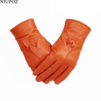 Female Genuine Leather Sheepskin Butterfly Knotl Gloves Real Fur Leather Women Mittens Lady Winter Thick Warm Driving Glove G200