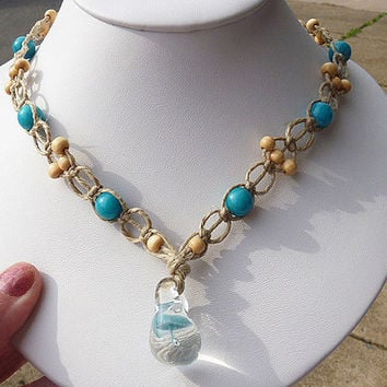 Girls Hemp Necklace with Glass Mushroom Pendant and Teal Glass Beads  SALE