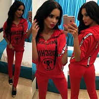 ''MOSCHINO''Casual Print Hoodie Top Sweater Pants Trousers Set Two-piece Sportswear