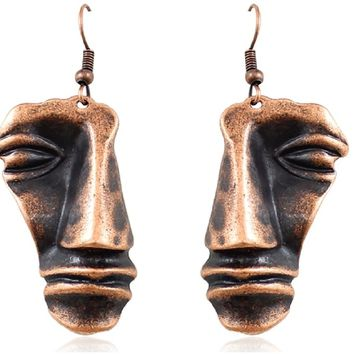 Retro Stereoscopic Face Drop Bronze Earrings