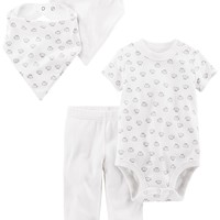 Simple Joys by Carter's Baby 4-Piece Bodysuit, Pant, Bib and Cap Set
