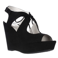 Fergalicious Vicky Wedge Lace Up Sandals - Black