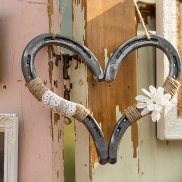 Rustic Wedding Decor Horseshoe Heart