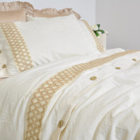 Lace Bordered Duvet Cover Set in Cream, Camel Beige, Full Queen King, Natural Cotton Linen Blend Turkish Buldan Fabric, Cottage Chic Bedding