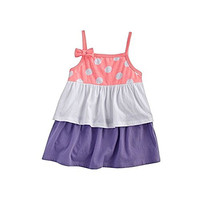 Beach Baby Polka Dot Tiered Baby Doll Tank for Toddlers Girls (3T, Coral Dots)