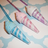 Sweet Ice Cream Cone Lip Gloss Necklace - blue or purple