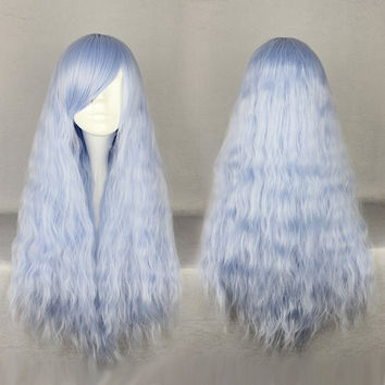 "Hot Selling 70cm 27"" Long Curly Wavy Blue Wig Cosplay Party Women Beautiful Lolita Wig,Colorful Candy Colored synthetic Hair Extension Hair piece 1pcs WIG-434A"
