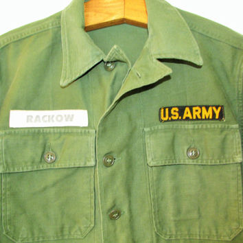 Vintage US Army 'Rackow' Military Button Down Shirt