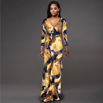 L-5XL High Quality New Fashion 2016 Designer Maxi Dress Women's long Sleeve deep v neck Printed Celebrity Party Long Dress D1179