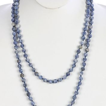 Blue Natural Stone Bead Extra Long Wraparound Necklace