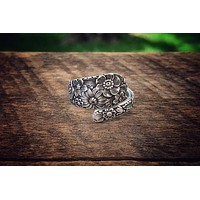 Antique Wildflower Sterling Spoon Ring