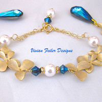 Blue Orchid Bracelet Gold Pearls Wedding Jewelry Sapphire Blue B - Vivian Feiler Designs | Wedding