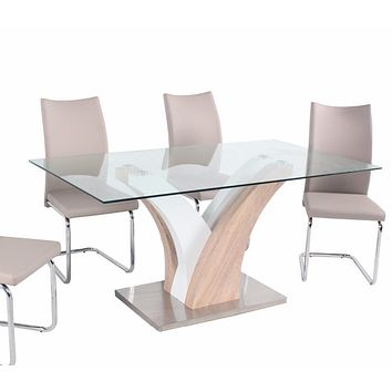 Modern Italian Metal Glass Dining Table and Chair Sets