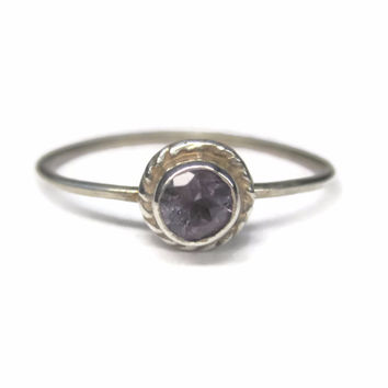 Vintage Minimalist Amethyst Ring Sterling Size 8
