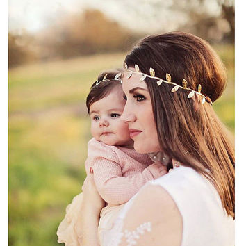 My Baby You'll Be Headpiece - Mother & Baby Matching Love Headbands (Gold/Silver)