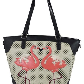 Nautical Retro Pink Flamingo Faux Leather Polka Dot Tote Bag