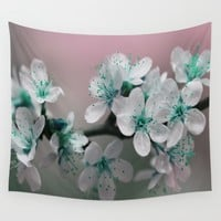 Teal Blossom Wall Tapestry by Inspired Images