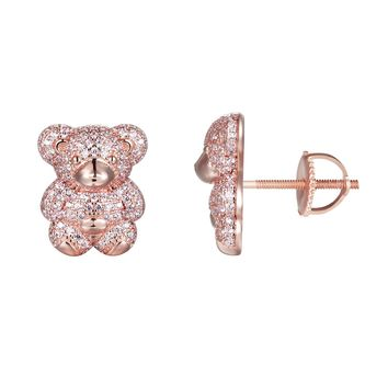 Iced Out Teddy Bear 14k Rose Gold Finish Gift Earrings