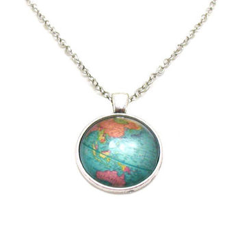 Best world globe necklace products on wanelo globe necklace map pendant map jewelry explore necklace travel necklace world gumiabroncs Image collections