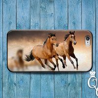 iPhone 4 4s 5 5s 5c 6 6s plus + iPod Touch 4th 5th 6th Gen Beautiful Light and Dark Brown Horses Running Phone Case Cute Custom Animal Cover