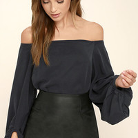 Prevail Washed Navy Blue Off-the-Shoulder Top