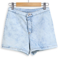 Light Blue Faded Button Denim Shorts