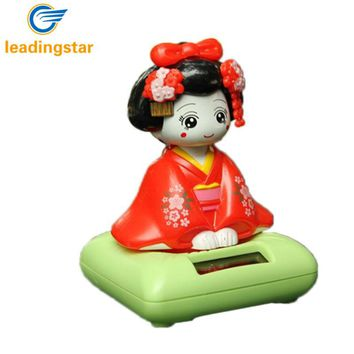LeadingStar Solar Energy Powered Bobblehead Toy Figure Nohohon, Japanese Kimono Maiko Geisha Car Home Decoration Articles zk30