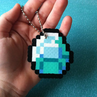 Perler Bead Minecraft: Diamond Keychain