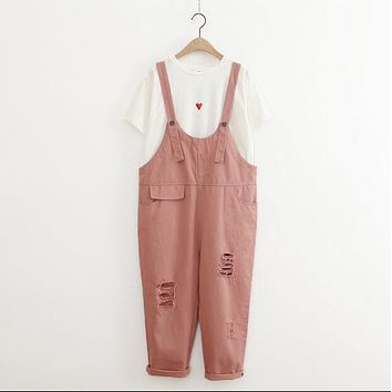 Hot Selling Women's Fashion Cool Casual Loose Pink Overalls Cargo Pants Ripped Jumpsuit High Waist Denim cotton Harem pants