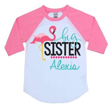 Big Sister Flamingo Kids Raglan Shirt