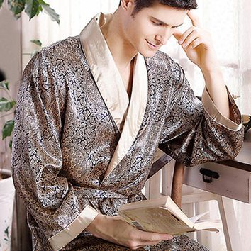 New Real Men Luxury Bathrobe Geometric Robes V-neck Imitation Silk Knitted Sleepwear Full Sleeve Nightwear