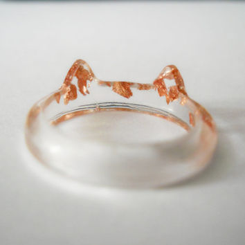 Resin ring, copper flakes ring, band ring, metallic copper foil resin ring, cat ring, thin band ring, cat ear ring, cat jewelry, copper ring