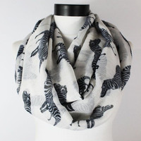 white zebra scarf,infinity scarf, scarf, scarves, long scarf, loop scarf, gift