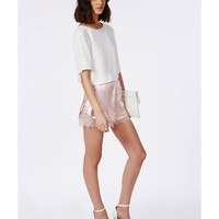 Missguided - Slinky Lace Detail Runner Shorts Blush Pink