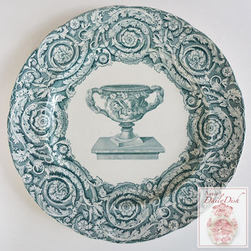 Antique Teal Copeland Garrett Late Spode Transferware Plate Ornate Urn Scrolls Thistle
