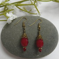 Earrings Red Crystal Teardrop Free Worldwide Shipping €8.00